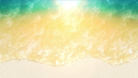 Blue Ocean On Sandy Beach With Wave Foam, CG Loop Animation Animación