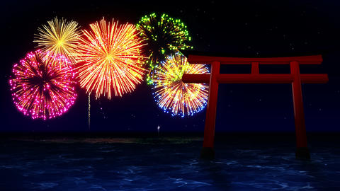 Colorful Fireworks Light Up the Sky, With Red Torii Gates in Japan, CG Animation