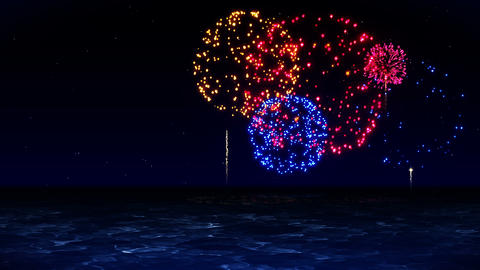 Colorful Fireworks Light Up the Sky, CG Animation, Loop CG動画