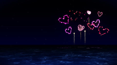 Colorful Fireworks Light Up the Sky, CG Animation, Loop Animation