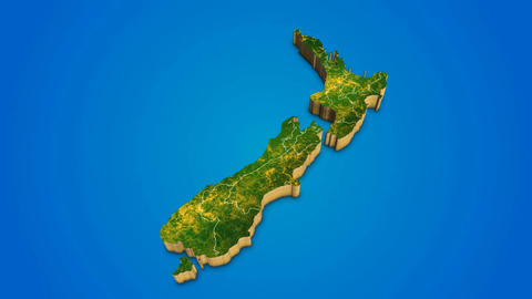 New Zealand country map satellite camera zoom in sky effect shot visualization After Effects Template