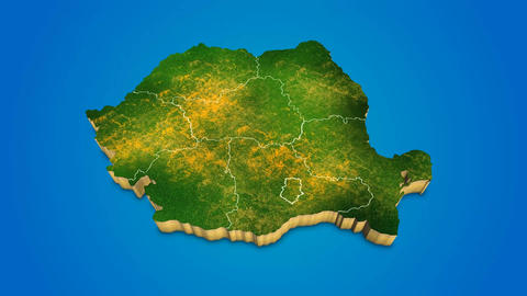 Romania country map satellite camera zoom in sky effect shot visualization After Effects Template