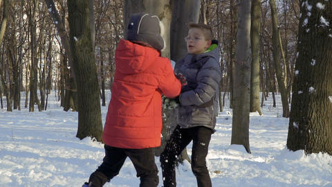 Two boys play snowballs in winter forest, slow motion Footage