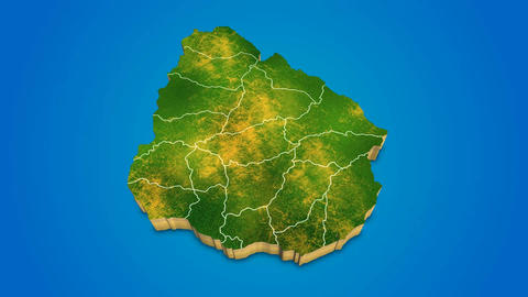 Uruguay country map satellite camera zoom in sky effect shot visualization After Effects Template