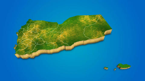 Yemen country map satellite camera zoom in sky effect shot visualization After Effects Template