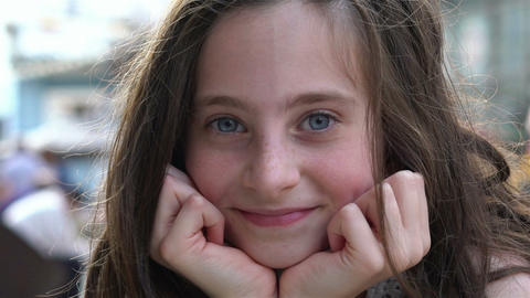 Beautiful Girl Looks Into Camera And Smiles Stock Video Footage