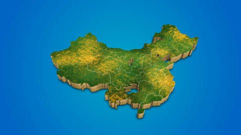China country map satellite camera zoom in sky effect shot visualization After Effects Template