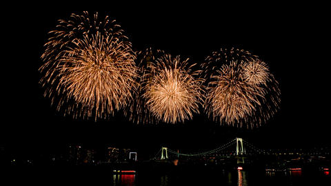 Scenery of FIREWORKS at ODAIBA area GIF