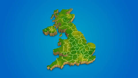 United Kingdom country map satellite camera zoom in sky effect After Effects Template