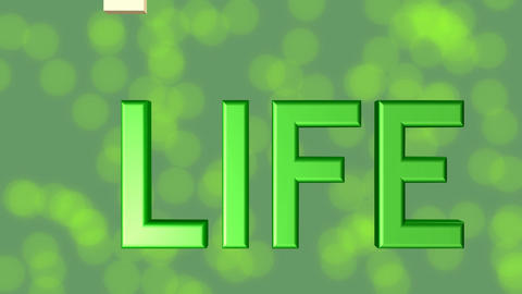For life banner, green 3d letters, quality stars on green background with blurry Animation