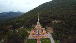 Aerial view of temple and mountain background at Loei province, Thailand Footage