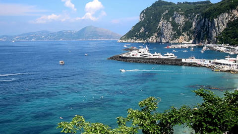 panoramic view of world famous Capri island coastline Footage