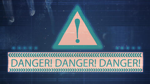 The noise of the TV and Glitch with the inscription Danger CG動画素材
