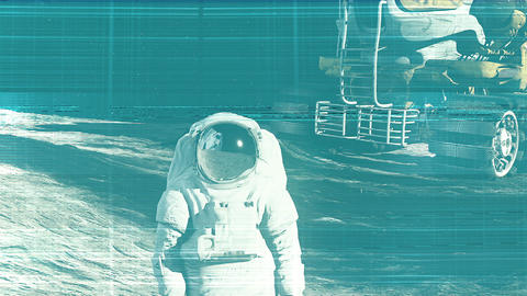 The noise of the TV and Glitch with an astronaut Animation