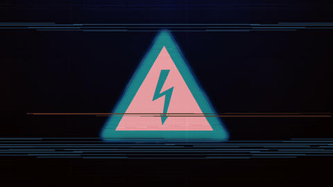 The noise of the TV and Glitch with the High voltage sign Animation