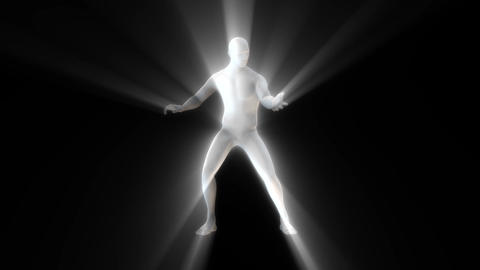 3D Marble Man with Light Rays Animation Loop Graphic Element Animation