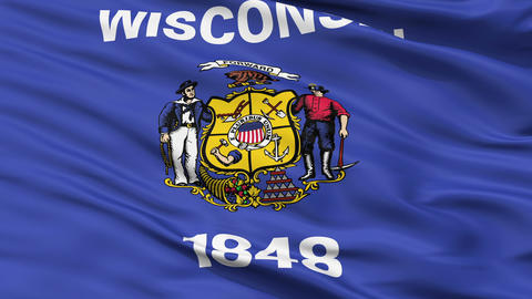 Close Up Waving National Flag of Wisconsin Animation