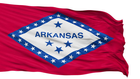 Isolated Waving National Flag of Arkansas Animation