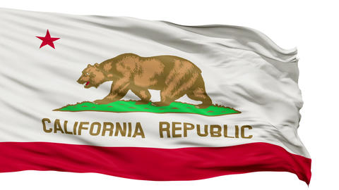 Isolated Waving National Flag of California Animation