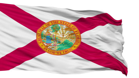 Isolated Waving National Flag of Florida Animation