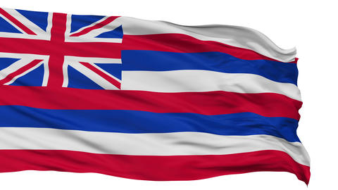 Isolated Waving National Flag of Hawaii Animation