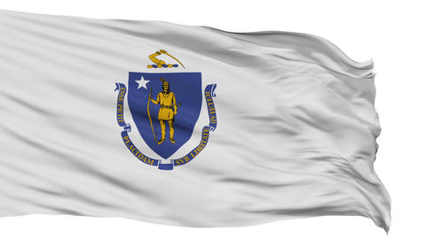 Isolated Waving National Flag of Massachusetts Animation