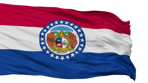 Isolated Waving National Flag of Missouri Animation