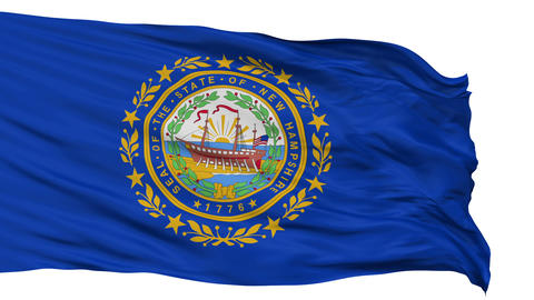 Isolated Waving National Flag of New Hampshire Animation