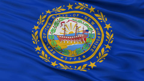 Close Up Waving National Flag of New Hampshire Animation