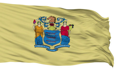 Isolated Waving National Flag of New Jersey Animation
