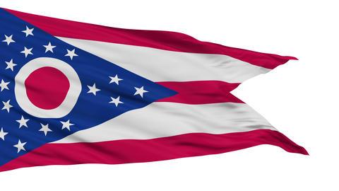 Isolated Waving National Flag of Ohio Animation