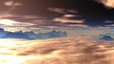 Clouds float over the mountains at sunrise (sunset) Animation