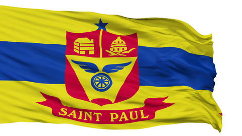 Isolated Waving National Flag of St. Paul City Animation