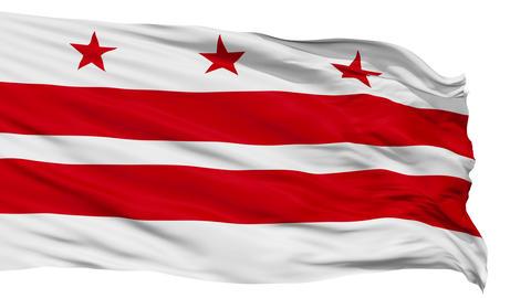 Isolated Waving National Flag of Washington D.C. City Animation