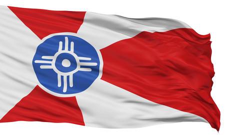 Isolated Waving National Flag of Wichita City Animation