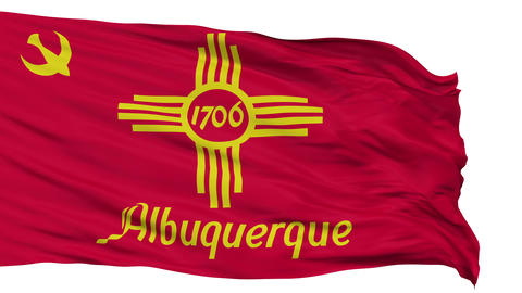 Isolated Waving National Flag of Albuquerque City Animation