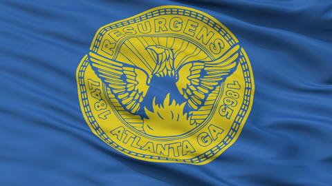 Close Up Waving National Flag of Atlanta City Animation