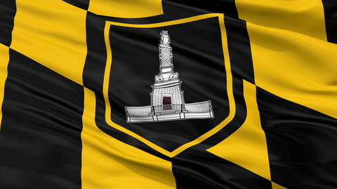 Close Up Waving National Flag of Baltimore City Animation
