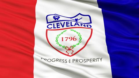 Close Up Waving National Flag of Cleveland City Animation