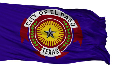 Isolated Waving National Flag of El Paso City Animation