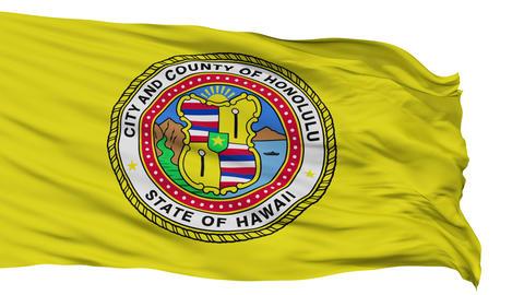 Isolated Waving National Flag of Honolulu City Animation