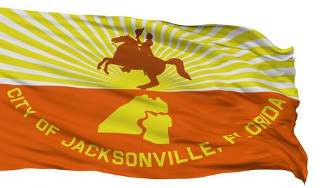 Isolated Waving National Flag of Jacksonville City Animation