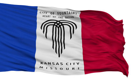 Isolated Waving National Flag of Kansas City Animation