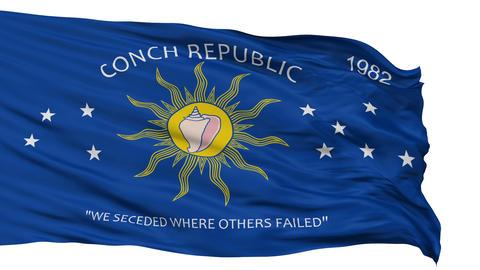 Isolated Waving National Flag of Keywest City Animation