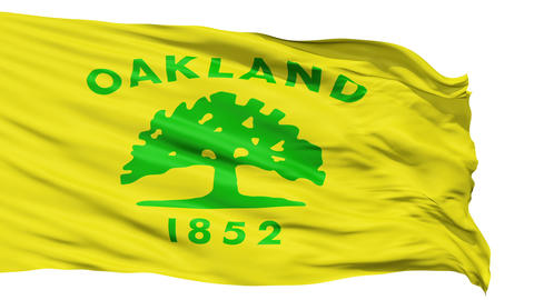 Isolated Waving National Flag of Oakland City Animation
