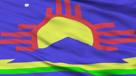 Close Up Waving National Flag of Roswell City CG動画素材