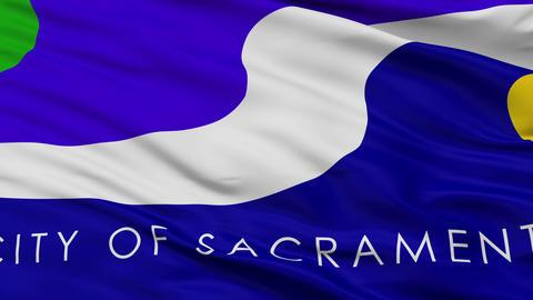Close Up Waving National Flag of Sacramento City Animation