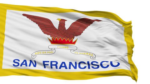 Isolated Waving National Flag of San Francisco City Animation