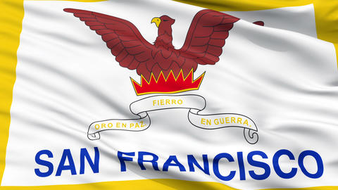 Close Up Waving National Flag of San Francisco City Animation