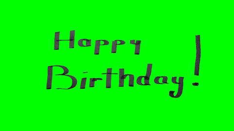 Green screen animation calligraphy writing happy birthday with black pen ink on Animation